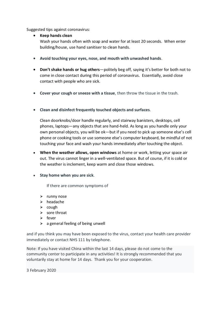 Suggested tips against coronavirus20200203